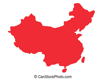 Red outline map of China