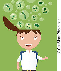 School Kid Exited About Many Subjects - Vector Illustration...