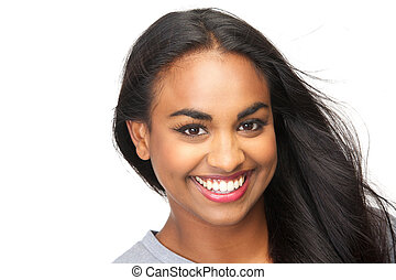 Beautiful young woman smiling on isolated white background -...