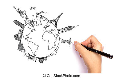 Drawing travel around the world (Japan,France,Italy ,New...