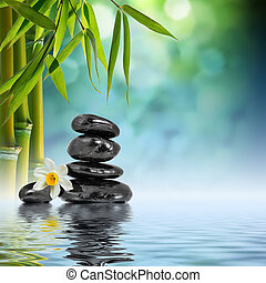 tower black stone and narcissus with bamboo on the water