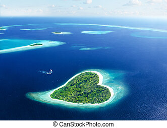 Escape in the island of love - Maldivian island in the shape...