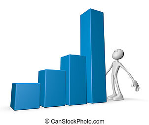 growth - white guy and business graph - 3d illustration