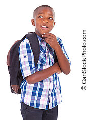 African American school boy looking up - Black people -...