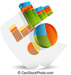 Business Chart Document - An image of a business chart 3d...