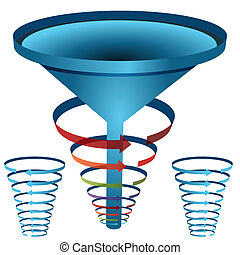 Arrow Funnel Chart - An image of a arrow funnel 3d chart