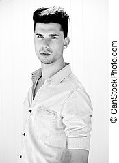 Black and white portrait of an attractive male model...