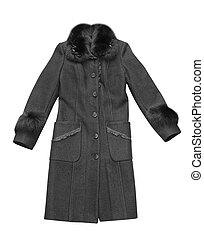 woman coat - black woman coat isolated on white