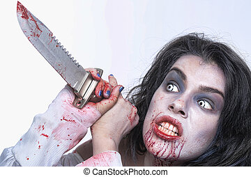 Image of a Bleeding Psychotic Woman - Scary Horror Image of...