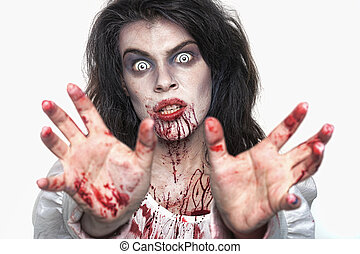 Psychotic Bleeding Woman in a Horror Themed Image - Bleeding...