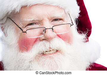 Christmas Santa Claus with specs - Close up face shot of...