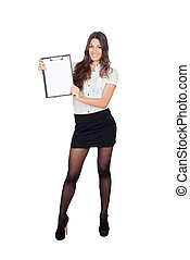 Pretty businesswoman with a clipboard isolated on a white...
