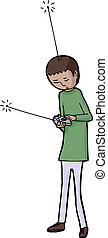 Self Control - Boy with remote control and antenna on head