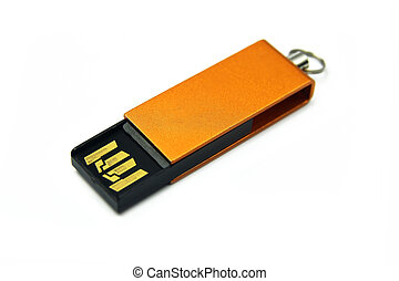 gold pendrive on white background