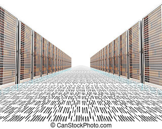 Data Rush - Data rush on the Server highway. 3d rendered...