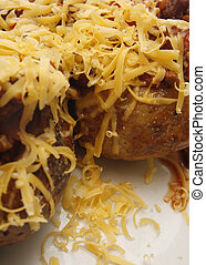 jacket potato - grated cheese, quorn chilli and jacket...