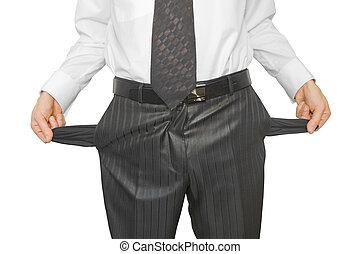 bankrupt - businessman bankrupt isolated on white