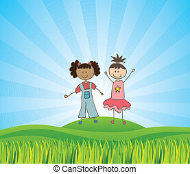 Kids design - kids design over landscape background vector...