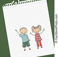 Kids design - kids design over leaf book background vector...