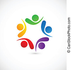 Teamwork social media app logo vector