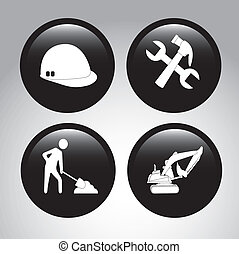 construction icons over gray background vector illustration
