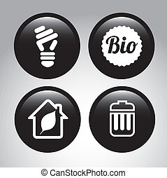 eco bubbles over gray background vector illustration