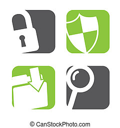 data protection icons over white background vector...