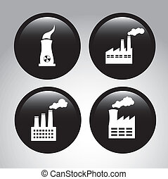factory icons over gray background vector illustration