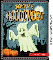 Vintage Halloween ghost poster design