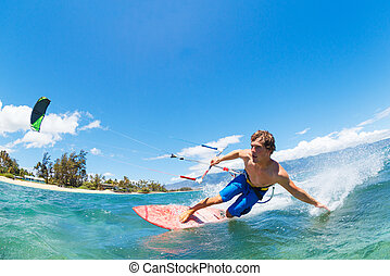 Kiteboarding - Young Man KiteBoarding, Fun in the ocean,...