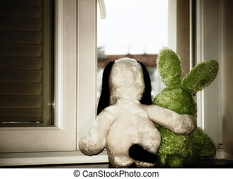 Waiting together - We can not play outside because its...