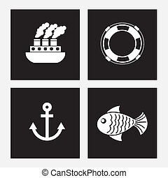 sea icons over white background  vector illustration