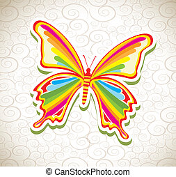 beatiful butterfly over pattern background vector...