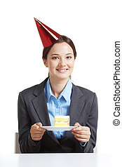 Employee with cake
