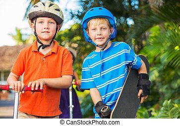 niños, Patín, tablas, patinetas