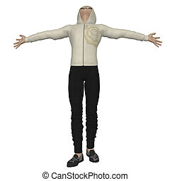 3D man in hoodie - Digital render of a young man in hoodie...