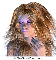 3d woman with stylish violet make-up