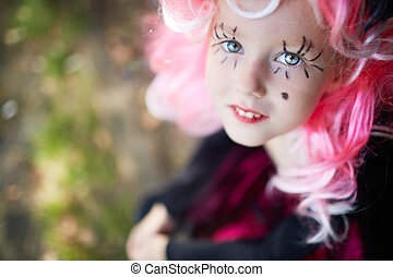 Cutie - Cute girl with painted eyelashed and pink wig...