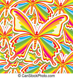 beatiful butterflys over pattern background vector...