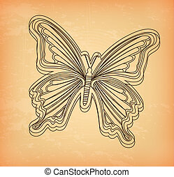 beatiful butterfly over cream background vector illustration...
