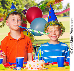 Kids Birthday Party - Two Young Boys at Birthday Party