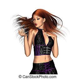 Dancing 3d brunette girl - A 3D digital render of a...
