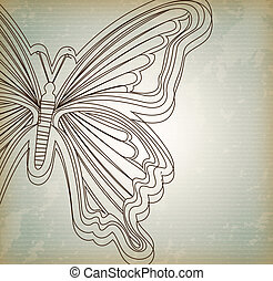 beatiful butterfly over lineal background vector...