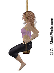 Girl on swing - Digitally rendered image of a woman in pink...