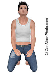 3d man in jeans