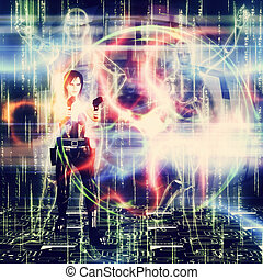 3d woman shooting - Abstract futuristic background with a...