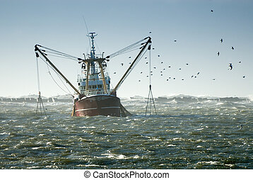 fishing ship in a storm ijmuiden the Netherlands