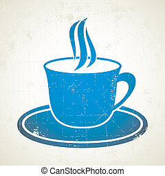 Blue cup of coffee - Illustration of blue cup of coffee on...