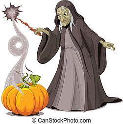 Witch casts a spell over pumpkin