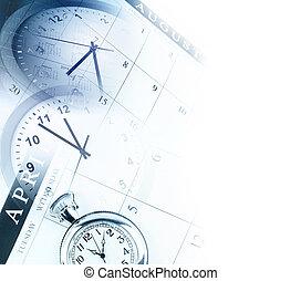 Time management - Clock faces and calendars composite. Copy...